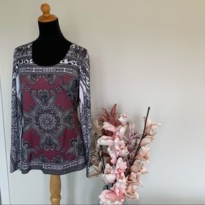 🍊Cache Paisley patterned top size L
